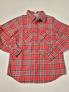 Boys Hanna Andersson Flannel Button Down Shirt size 160 (14/16) red plaid NEW