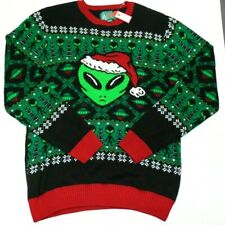 Ugly Christmas Sweater Large (L) Alien Santa (LIGHTS UP WHEN TOUCHED) Brand New