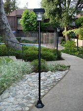 "Outdoor Solar Power 77"" H Lamp Post Vintage Street Light w/ 4 Super Bright LEDs"