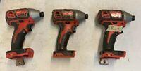 "MILWAUKEE 2656-20 M18 18V 1/4"" HEX Impact Driver - Lot of 3 - Broken Tools"