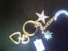 NEW JUICY COUTURE PAVE MOON AND PAVE STAR CHARMS KEY RING KEY FOB BAG RARE