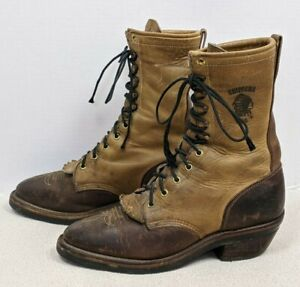 Vtg CHIPPEWA Packer/Logger CRAZY HORSE Apache Lace Up COWBOY Boots USA Made 9D