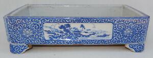 """Japanese Vintage or Antique Imari Bonsai Tray Blue/White 10"""" X 5-1/2"""" X 2-3/4"""""""
