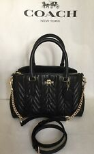 COACH F30650 QUILTED LEATHER MINI SAGE CHAIN CARRYALL SATCHEL PURSE IM/BLACK NWT