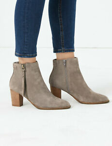 RRP £69, M&S COLLECTION  Suede Snakeskin Print Block Heel Ankle Boots SZ 5 (2)
