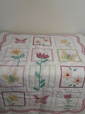 Handmade White Cross Stitch Baby Quilt Blanket - Flowers & Butterflies Pink