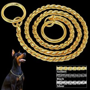 Choke Chain Training Dog Collars Snake P Choker Pet Show Collar 3 Colors 8 Sizes