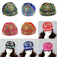 Boho Ladies Ethnic Turban Hat Cap Head Wrap Scarf Beanie Embroidered Florals