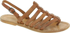 Leather slingback strapped slave sandals for women in cuir color leather