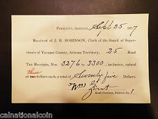 Prescott AZ, Yavapai County Road Tax Receipt 1897