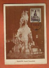 1947 -Pologne -Carte Maximum-Krakow. Pomnick Grunwaldzki -Obl.Krakow-Réf.C.32