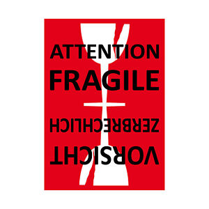 Aufkleber Sticker Etikett Label Attention Fragile glass care Versand Umzug Paket