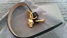 NEW BOXED ALEXANDER MCQUEEN  Black Leather single Wrap Skull Bracelet 22cm Strap
