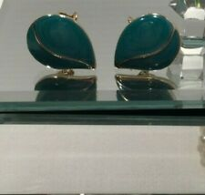CROWN TRIFARI Enamel Teal Teardrops Gold Tone Clip On Earrings Vintage Blue Aqua