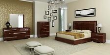 VOLARE - KING SIZE MODERN WALNUT BEDROOM SET 5PC MADE IN ITALY