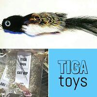 Bettie feather Black Bird cat toy teaser & 5g Cat Nip set by Tiga Toys handmade