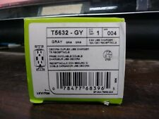 LEVITON T5632-GY WALL OUTLET RECEPTACLE 15 AMP WITH USB CHARGER 3.6 AMP NEW BOX