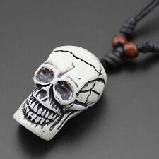 Punk Carved Skull Pendant Faux Yak Bone Charm Necklace Choker ~White~ 1pc