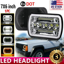5x7'' 7x6'' LED Headlight Hi-Lo Beam Halo DRL Projector For Jeep Cherokee XJ YJ