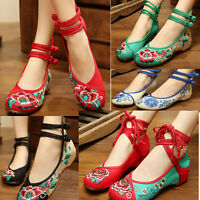 Women Lady Chinese Embroidered Floral Shoes Ballet Retro Flat Cotton Loafer snug