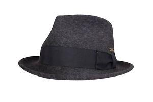 Wigens NWT 100% Wool Charcoal Fedora Size XL 61, 7 & 5/8ths
