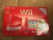 Nintendo Wii  Super Mario Bros Limited Edition Red Console 2 controll  2 games