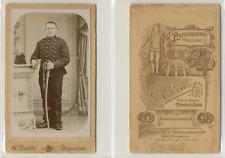 CDV Berthe, Angoulême, Militaire, uniforme à brandebourgs, circa 1890 Vintage CD