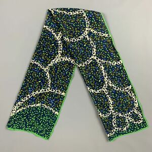 """Vintage GIVENCHY 45"""" Navy & Green Abstract Floral Scarf"""