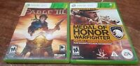 Fable III + Medal of Honor Warfighter (Microsoft Xbox 360, 2010/2012) LOT/BUNDLE