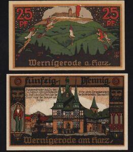 1920 Wernigerode Germany Notgeld Lot 2 Rare Emergency Money Banknote Complete