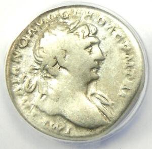 Roman Empire Trajan AR Denarius Silver Coin 110 AD - Certified ANACS VG8