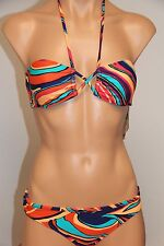 NWT Roxy Swimsuit 2pc Bikini Set Sz S Criss Cross Cheeky Bandeau PQS6