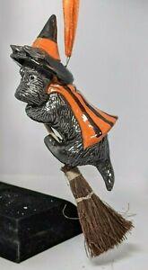 Halloween Scottie Terrier Witch ornament OOAK sculpture painting art