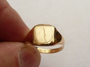 SUPER MENS SOLID 18CT GOLD VINTAGE SIGNET PINKY RING SIZE P 17.97MM 4.4 GRAMS
