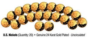 UNCIRCULATED 24K GOLD PLATED U.S. * BUFFALO * NICKELS (Lot of 20)