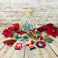 vtg Lot of Christmas decorations ornaments 50's flowers felt crochet mcm