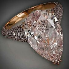 Big 9Ct Pear Cut Simulnt Morganite Diamond Statement Ring Yellow Gold Fns Silver