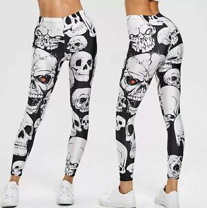 White Skulls Digital 3D Printed Leggings Stretchable Sports Yoga Pants