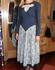 VINTAGE Retro Sally Browne Original 1980's Blue Drop Waist Lace Dress #VIN37