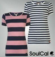 Ladies SoulCal Short Sleeves Crew Ribbed Trim Stripe T Shirt Sizes from 8 to 16