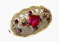 VINTAGE Signed CZECH GOLD TONE Ruby PASTE BROOCH PIN Gift Boxed