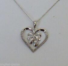 "NEW Diamond Baby Shoe Heart Dangling Pendant Necklace 10K White Gold- 18"" Chain"