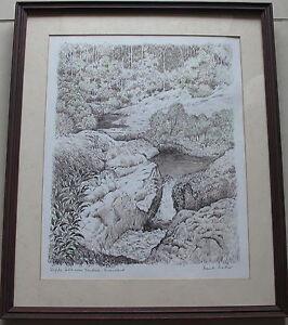 Frank Mather~Australian Artist~original drawing~Wappa Falls, Yandina, Queensland