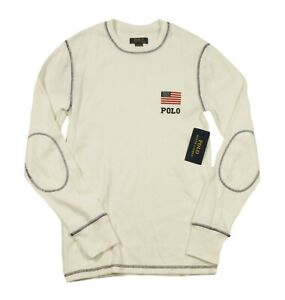 Polo Ralph Lauren Men's Ivory USA Flag Waffle Knit Topstitched Thermal T-Shirt