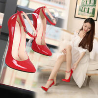 Plus Sz Women Men unsex Super High Heel Stiletto Pointy Toe Clubwear Shoes 16 CM