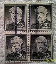1955 Scott 1049 Robert E. Lee four used and cancelled 30 cent stamps off paper
