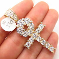 925 Sterling Silver Gold Plated Swarovski Crystals Egyptian Ankh Cross Pendant