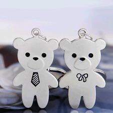 Key Chain 1 Pair Lover Ring Keyfob Keyring Gift Mr & Miss Bear Cute Couple