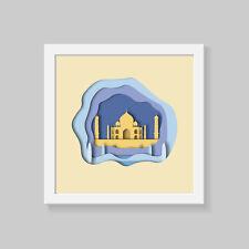 Taj Mahal Wall Art, layerd 3D effect Print Poster, famous cities wall art
