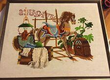 """VTG Crewel Embroidered Needlepoint Framed Antique Storefront 3 D 1982 17 X 21"""""""